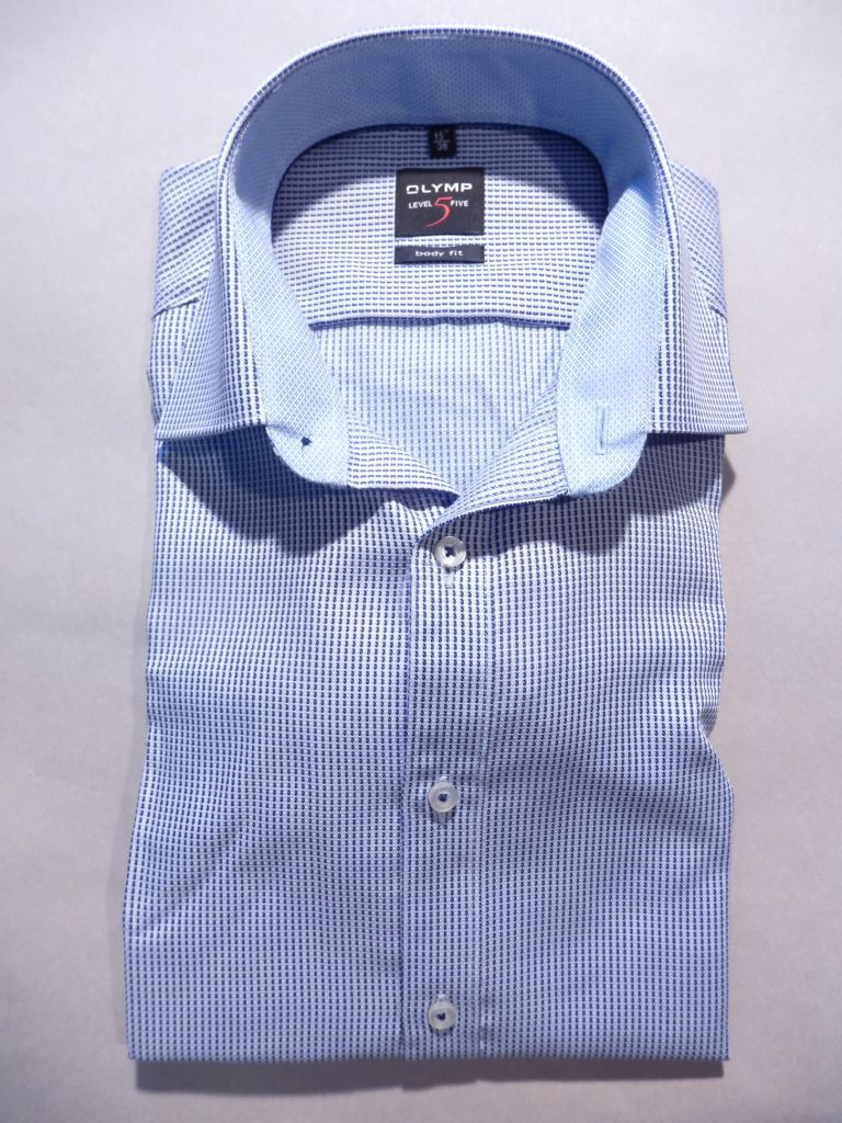 Chemise city blanc points marine