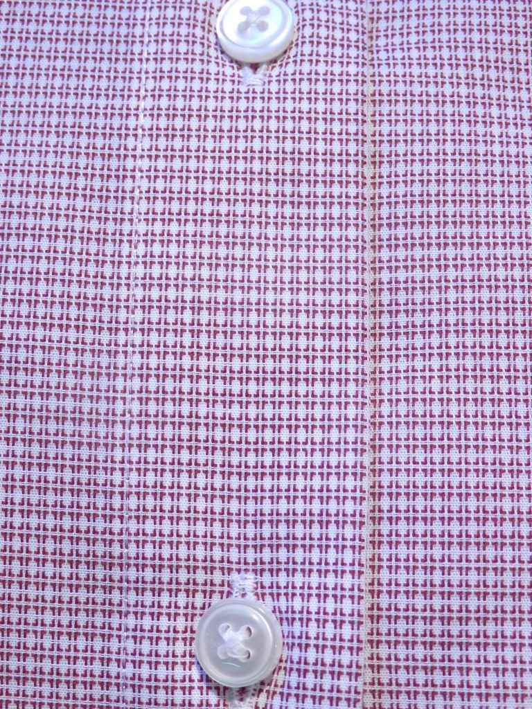 Chemise city blanc quadrillage bordeaux