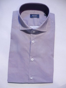 Chemise city prune à pois blancs