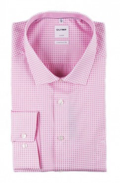 Chemise city rose ronds blanc