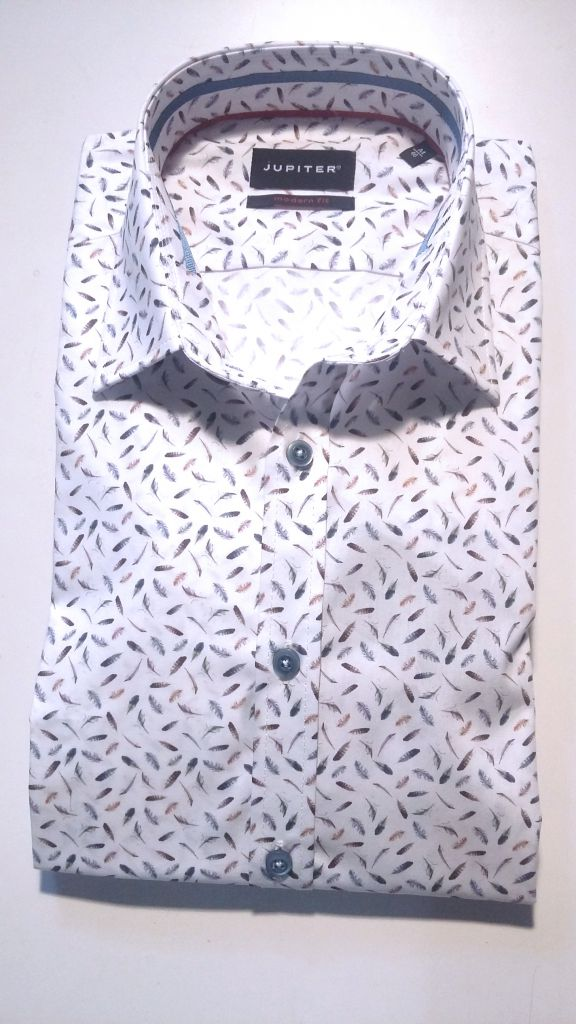 Chemise modern fit blanche motif plumes