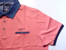 polo corail - col jeans - manches courtes