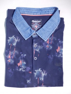 polo marine - motifs palmiers - col jeans - manches courtes