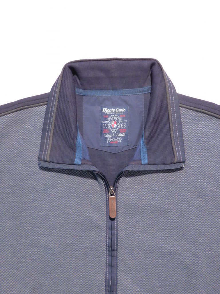 sweat cardigan chevrons gris+marine