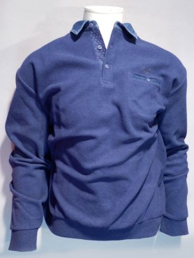 Sweat col polo bleu indigo