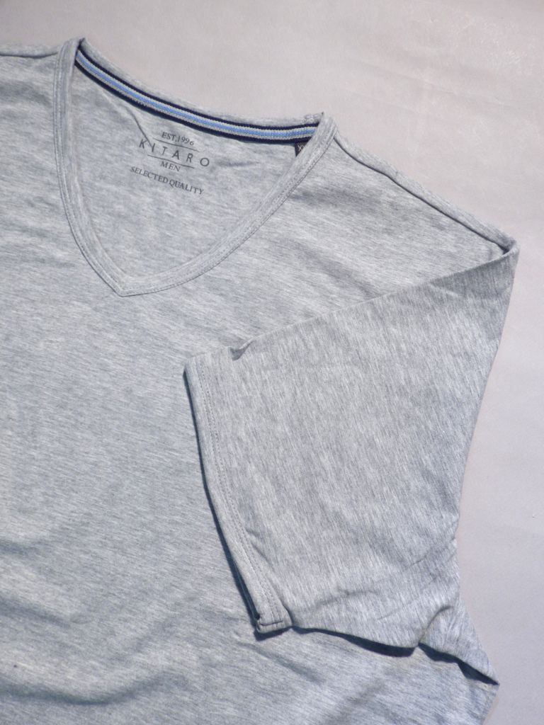 T shirt en V gris chiné - stretch